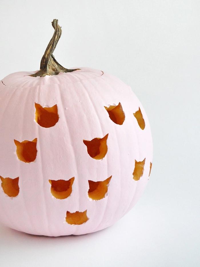 halloween kürbis dekoideen, kürbisdeko selber amchen, katzenköpfe schnitzen, rosa farbe