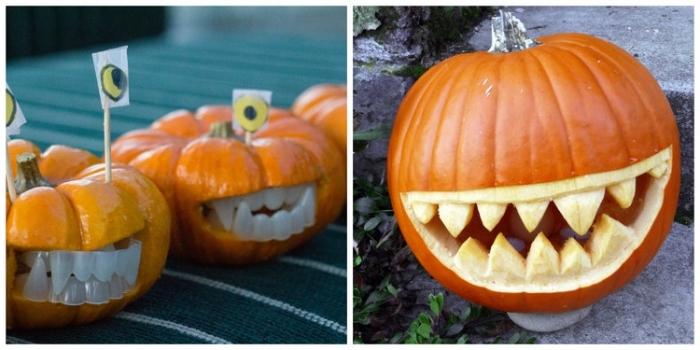 halloween kürbis gesichter, großer mund, lange zähne, vampire kürbisse, gruseli