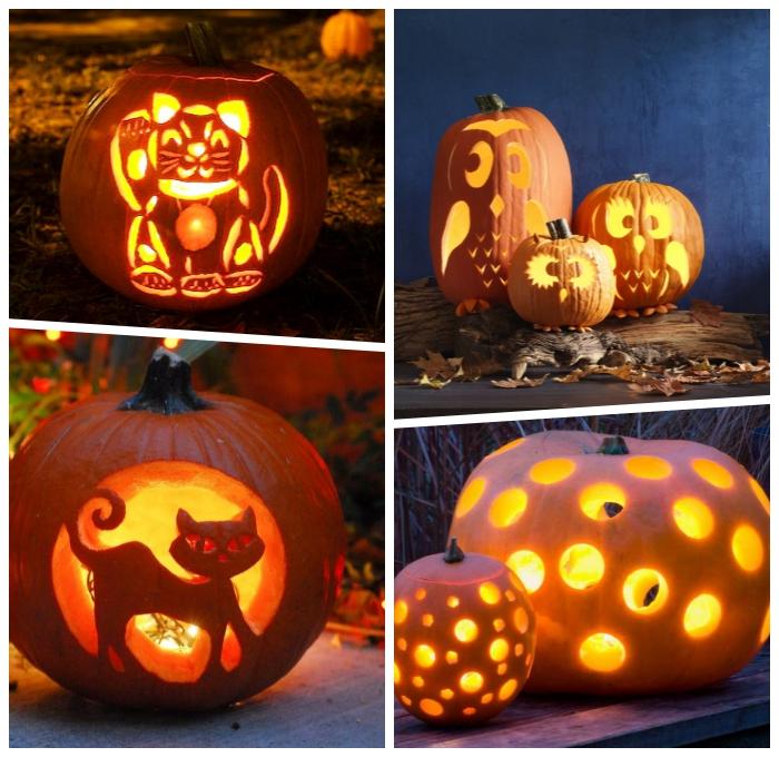 hallowen kürbis schnitzen, anleitungen und ideen, polka dot laterne, windlicher basteln