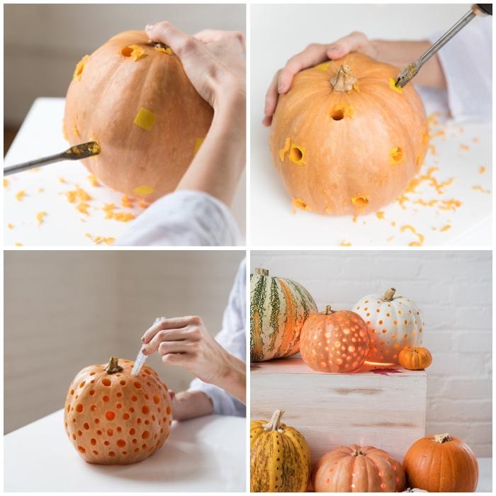 halloween kürbis schnitzen, einfache anleitung, polka dot laterne, herbstdeko selber machen