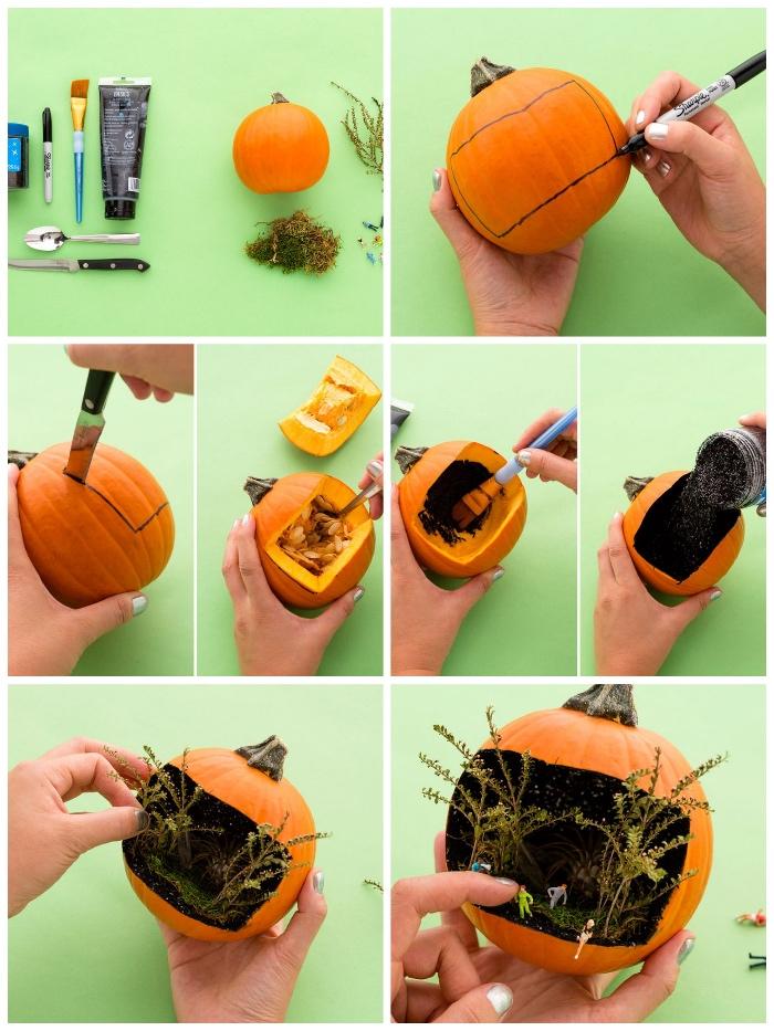 halloween kürbis schnitzen, herbst deko ideen, spiel selber machen, anleitung in bildern