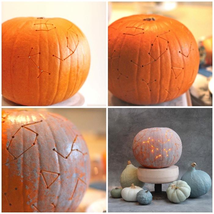 halloween kürbis schnitzen, sternen karte, laternen basteln, dekoideen, herbst