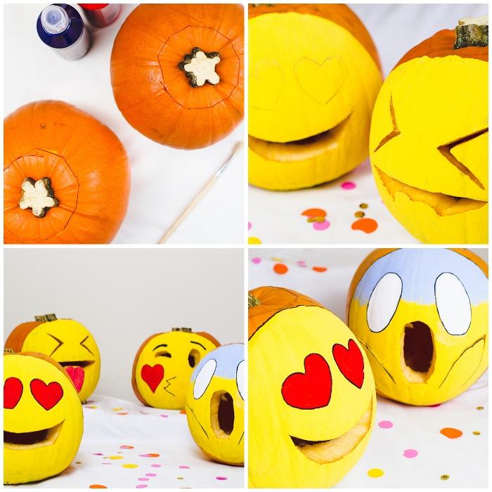 halloween kürbis, anleitung schritt für schritt, emoji kürbisse, kürbisdeko ideen
