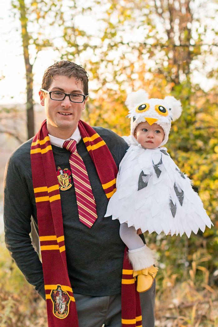 harry potter hedwig kinder kostüm mädchen halloween vater tochter verkleidung ideen und inspiration gryffindor schal