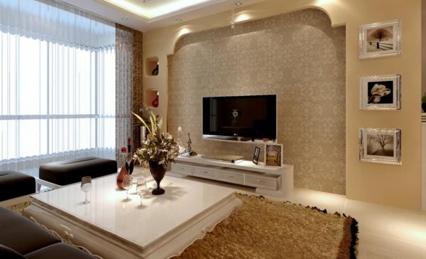 Helle moderne wohnzimmer wandgestaltung