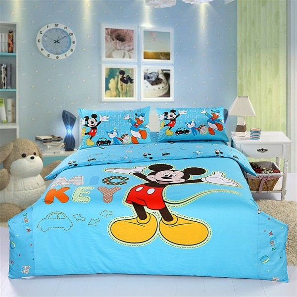 himmelblaue-Bettwäsche-Mickey-Mouse-Kinderzimmer