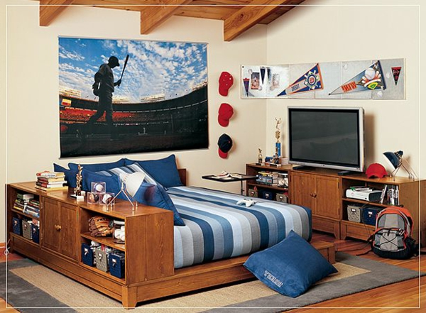jugendzimmer-einrichten-blaue-bettbezüge