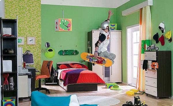 jugendzimmer-einrichten-grüne-wand