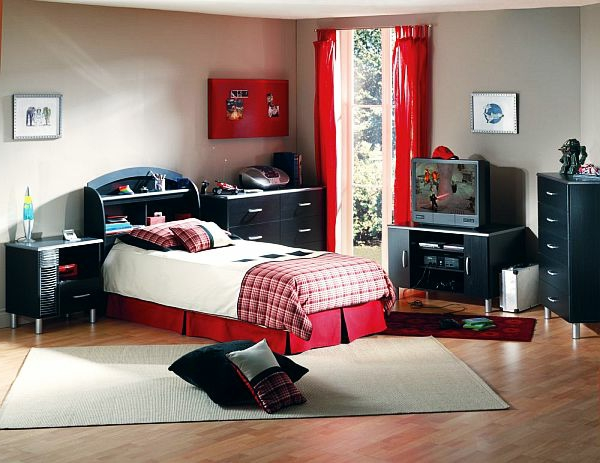 rote gardinen. Black Bedroom Furniture Sets. Home Design Ideas