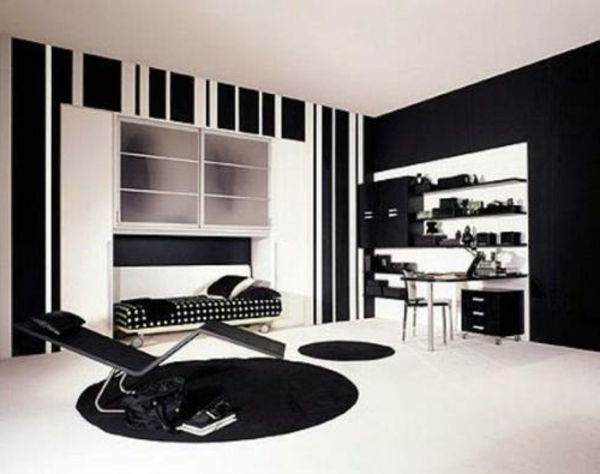 Jugendzimmer Einrichten Runde Schwarze Teppiche