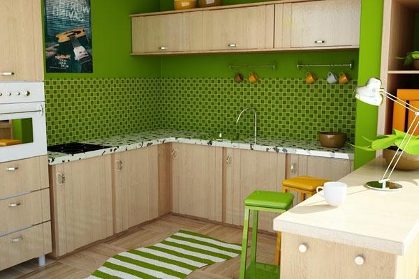 kleine-Küche-Wand-.in-Grüntönen