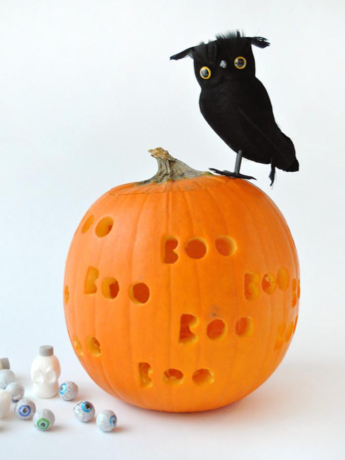 kürbis aushöhlen schritt für schritt, kürbisdeko ideen, halloween bastelideen, schwarzer vogel