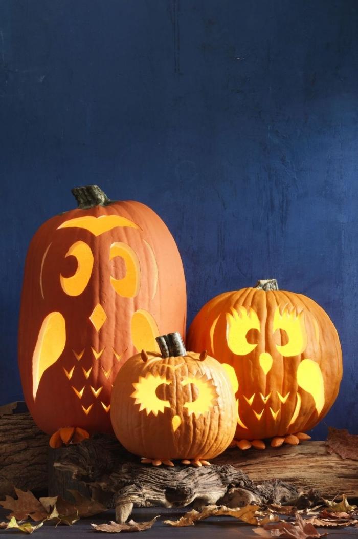 halloween deko selber machen, eulen familie, kürbis aushöhlen, laternen, partydeko