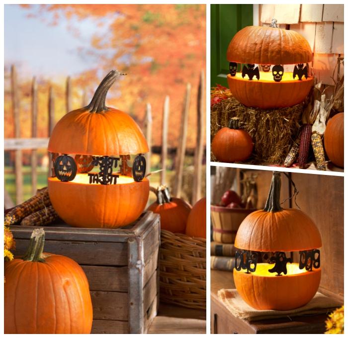 kürbis aushöhlen und dekorieren, gartendeko halloween, kleine figuren, herbstdeko
