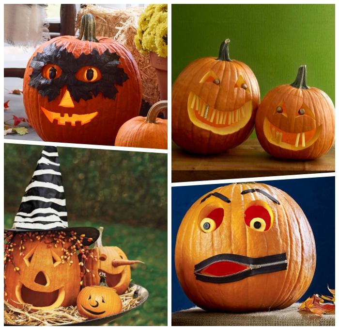 kürbis gesicht, halloweendeko ideen, kürbisgesichter shcnitzen, große zähne, hexe