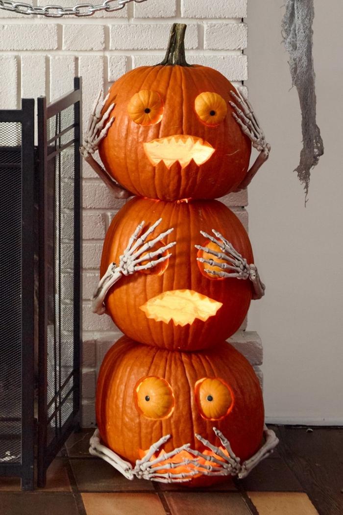 halloween dekos elber machen, kürbis gesicht schnitzen, kürbisgesichter, herbst deko
