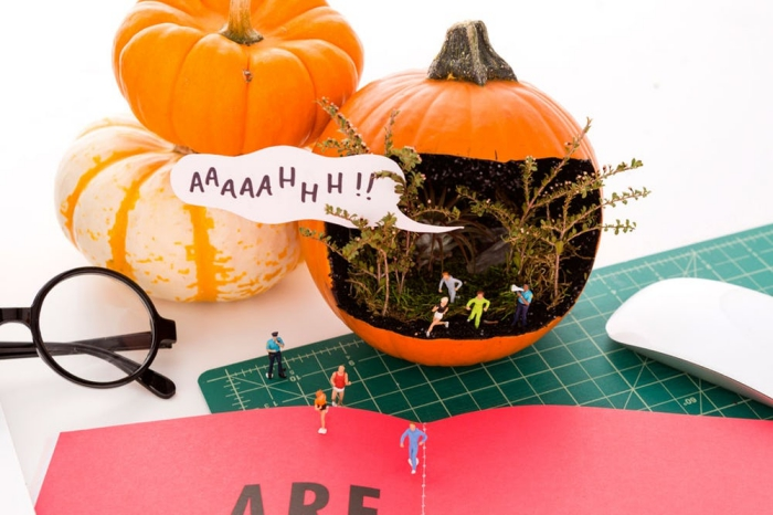 kürbis halloween dekoideen, halloweendeko selebr machen, diy spiel, kleine spieler