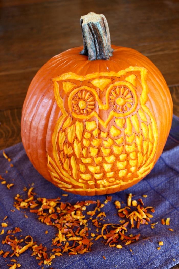 kürbis schnitzen ideen, halloween deko selber machen, große eule, herbst dekoration
