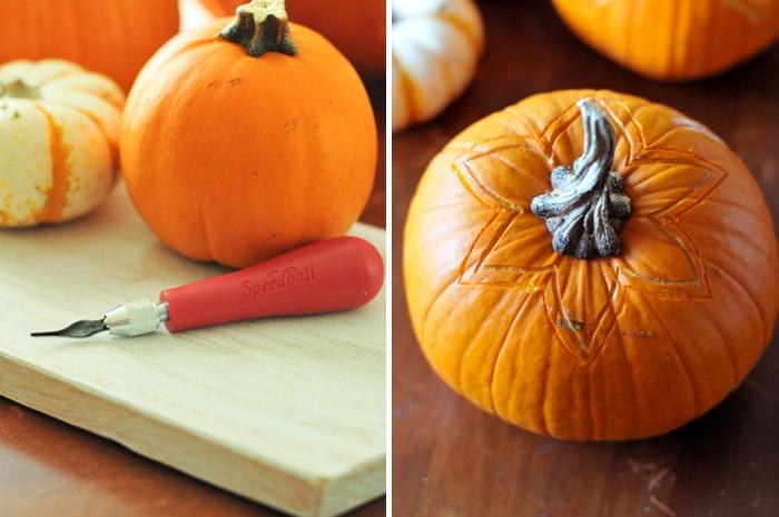 kürbis schnitzen halloween, herbst dekoideen zum selbermachen, halloweendeko, blume