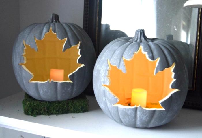 kürbis schnitzen vorlage, laternen mit herbstblättern, halloween deko selebr machen