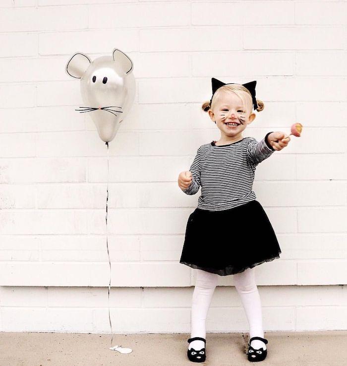luftballon maus kinder kostüm mädchen halloween inspiration leichte ideen kostüme selber machen maus verkleidung für kinder