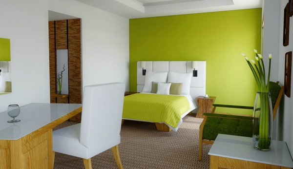 moderne--Wandgestaltung-in-grüner-Farbe