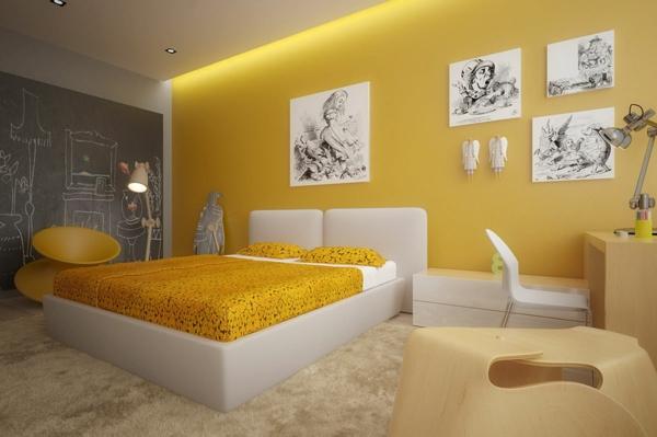 Gelbe farbgestaltung im schlafzimmer 24 fotos for Bastelideen fa r teenager