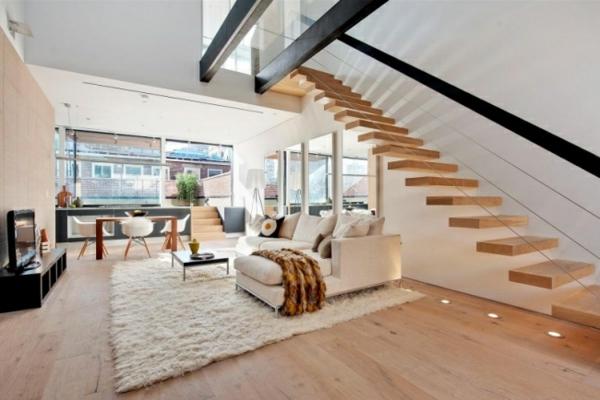 ... Interior Design Wohnzimmer mit Holzboden und Led Einbaustrahler