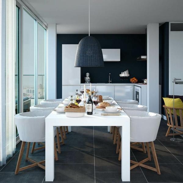 moderne-stühle-für-esszimmer-hängende-schwarze-lampe
