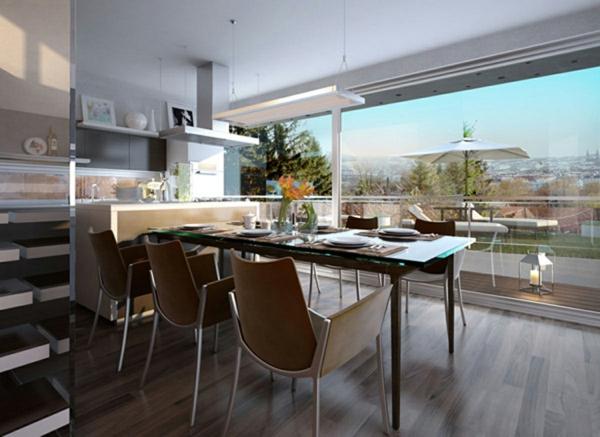 moderne-stühle-für-esszimmer-mit-einer-gläsernen-wand