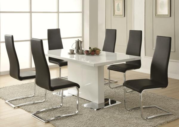 schwarz-weiß-esszimmer stühle | möbelideen, Esszimmer dekoo
