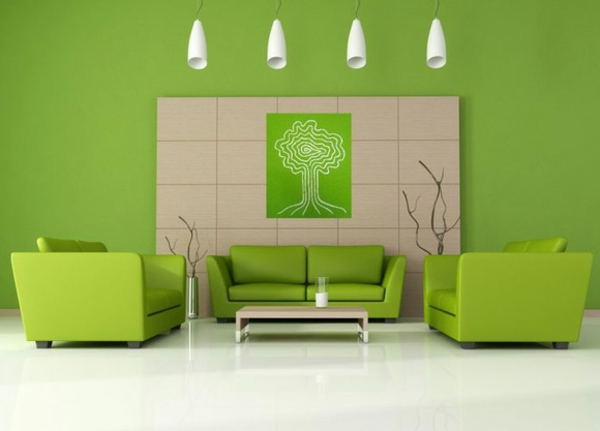 100 ideen für wandgestaltung in grün! - archzine.net - Modernes Wohnzimmer Grun