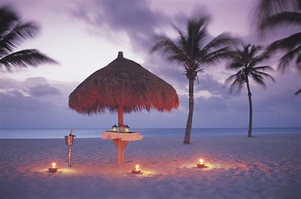 palmen und romantische leuchten am strand
