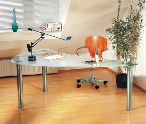 Schreibtisch-Glas-Holzboden