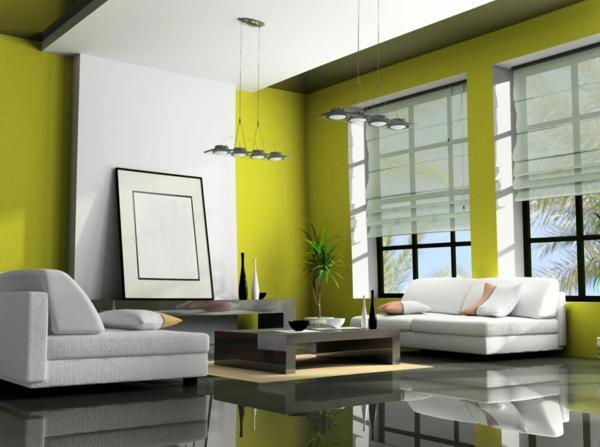 olivgrünes-Wohnzimmer-Wandfarbe-Grüntone