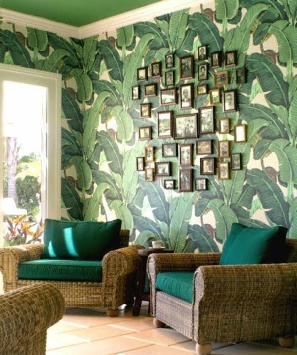 originelle-Wand-Wandgestaltung-Grün-Blätter