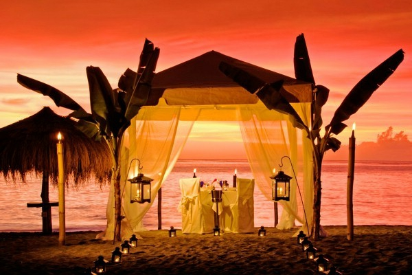 Caribbean      St. Lucia     Anse Chastanet Beach tented dinner, sunset