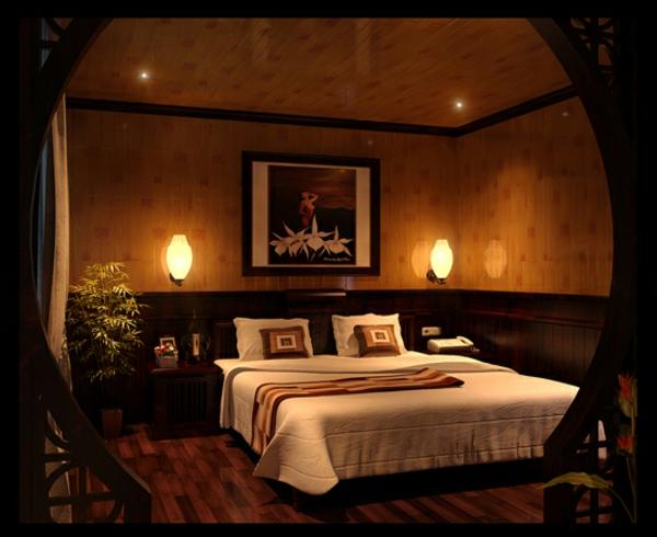 romantisches-schlafzimmer-mit-eleganten-schlafzimmer lampen - bild an der wand