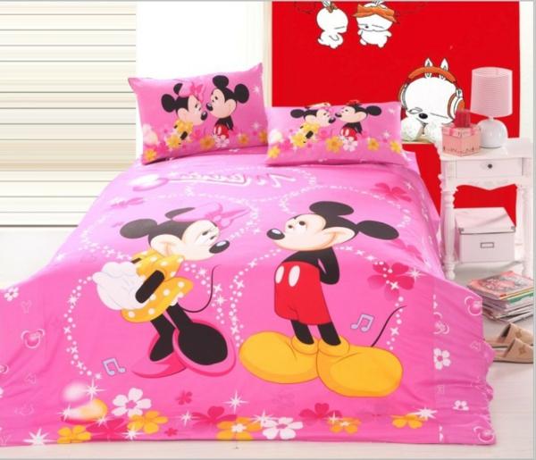 rosa-Mickey-und-Minnie-Maus-Bettwäsche