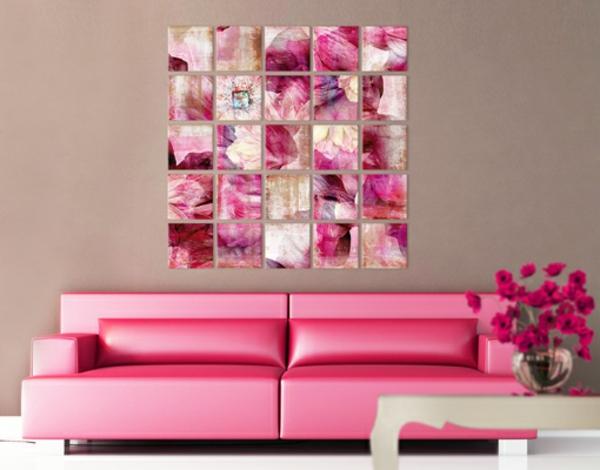 rosa-Sofa-und-rosa-Leinwandbild