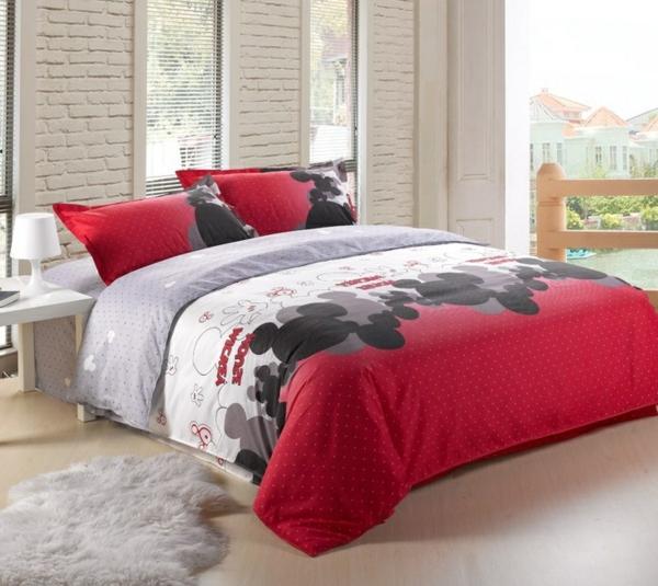 rot-weiß-schwarz-Bettwäsche-Mickey-Mouse