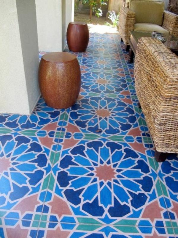 schöne--Fliesen-mit- Marokkanischem-Design-Blau