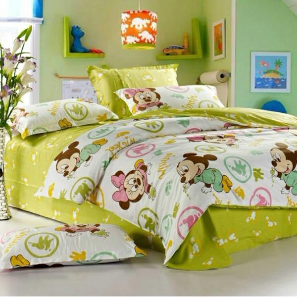 schöne-grüne-Mickey-Maus-Bettwäsche-