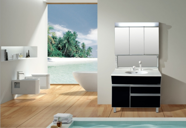 schöner-Spiegelschrank-mit-Beleuchtung-im-Badezimmer-Holzboden