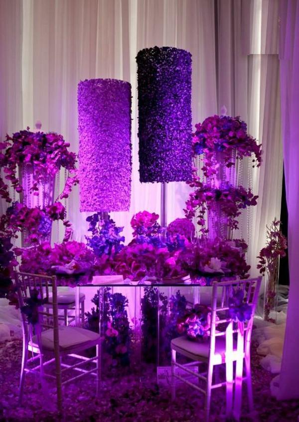 tischdeko zur hochzeit in lila farbe 34 bilder. Black Bedroom Furniture Sets. Home Design Ideas