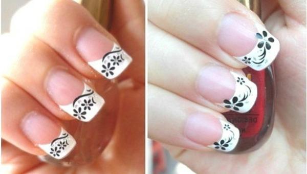 schwarz-weißes-Fingernägel-Design
