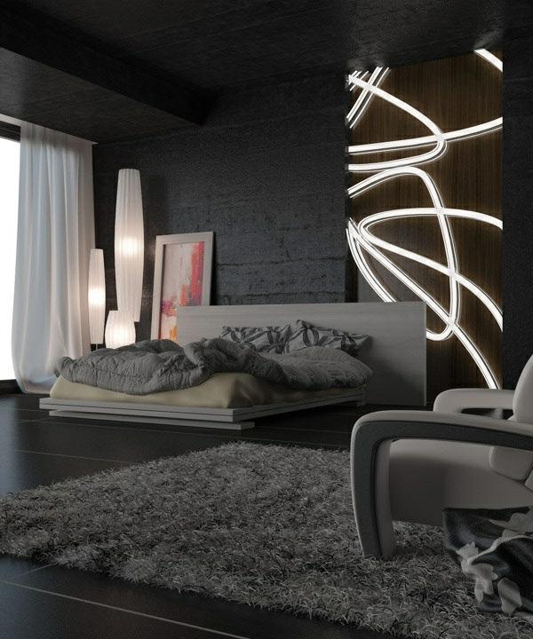 schwarze wandfarbe f r schlafzimmer 30 bilder. Black Bedroom Furniture Sets. Home Design Ideas