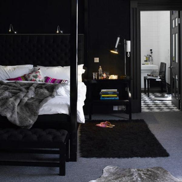 Schwarze Wandfarbe für Schlafzimmer - 30 Bilder!