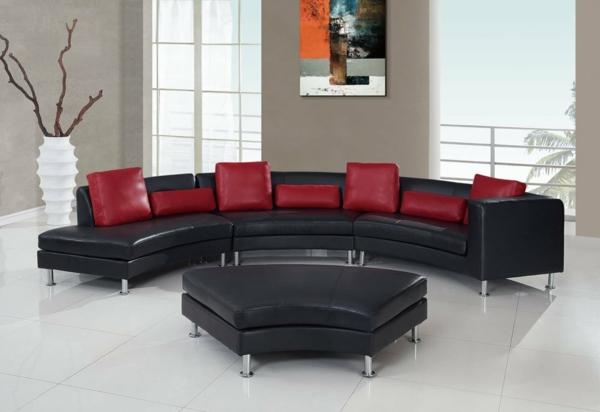 Wohnzimmer Renovieren Vorschlage : Halbrundes Sofa – Schwarzes Leder ...