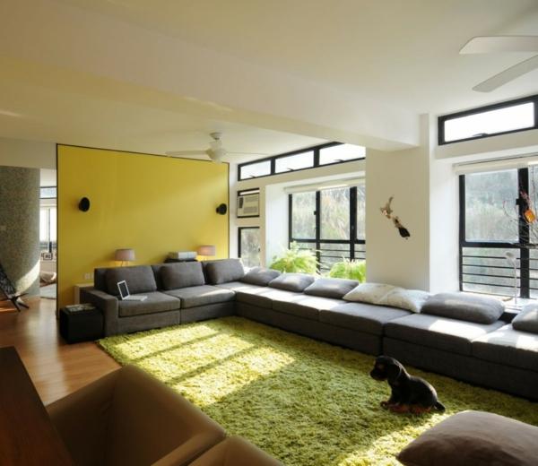 Design Wohnzimmer Grau Gelb Inspirierende Bilder Von